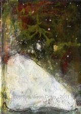 """A corner seat..."". acrylic on canvas 18 x 13cm"