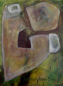 """Sacrifice, two stones"", oil on board, 40.5 x 30.5cm"