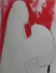 Totem study (red), mixed media on paper