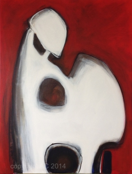 Totem red, acrylic on canvas